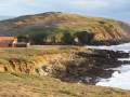 view of the rocky intertidal zone and a building