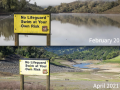 photos of a full lake in 2019 and empty lake in 2021