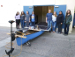Students posing with their solar powered boat
