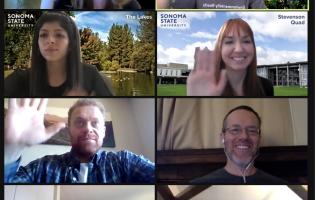 Zoom screenshot of 8 people waving and smiling