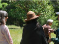 naturalists conversing in a field in front of trees