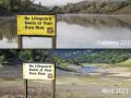 fotos de un lago lleno en 2019 y un lago vacío en 2021